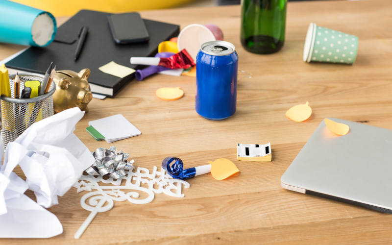 Close up of assorted items on a desk